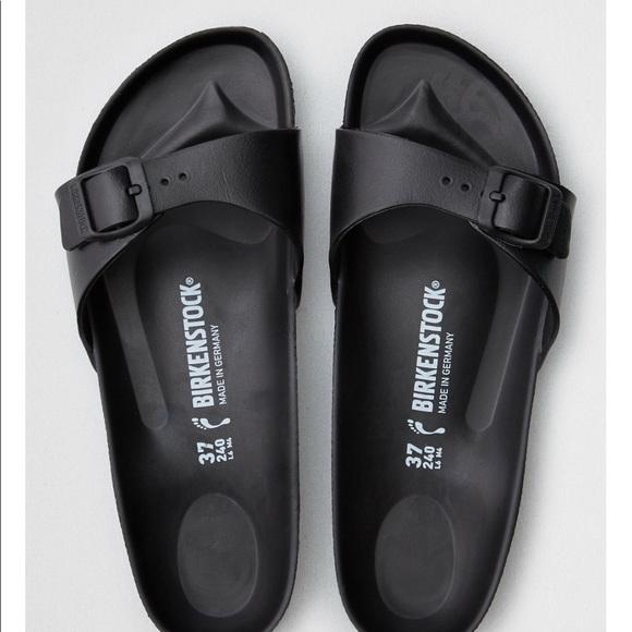 832ba71ecbfa Birkenstock Shoes - Birkenstock Madrid Black Rubber Buckle Flat Sandal